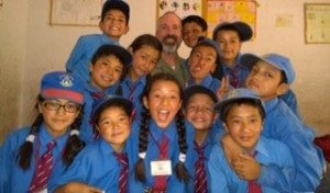 Paul Lessner with his class in Ladakh